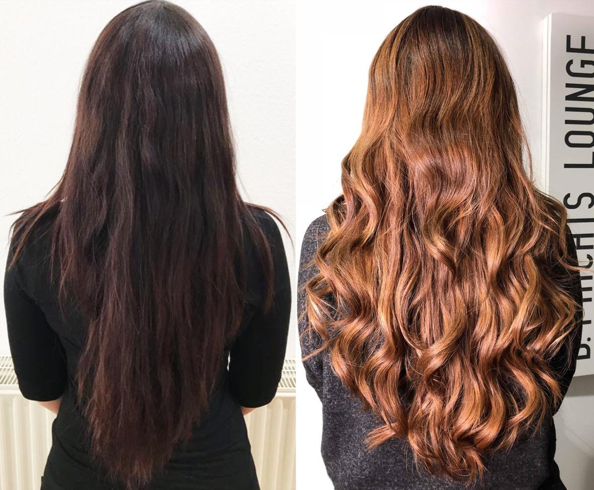 Blonden strähnen schwarze haare mit Schwarze haare