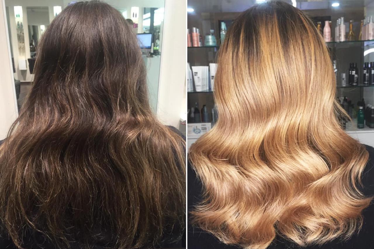 Haare färben dunkelblonde hellblond Haare Färben