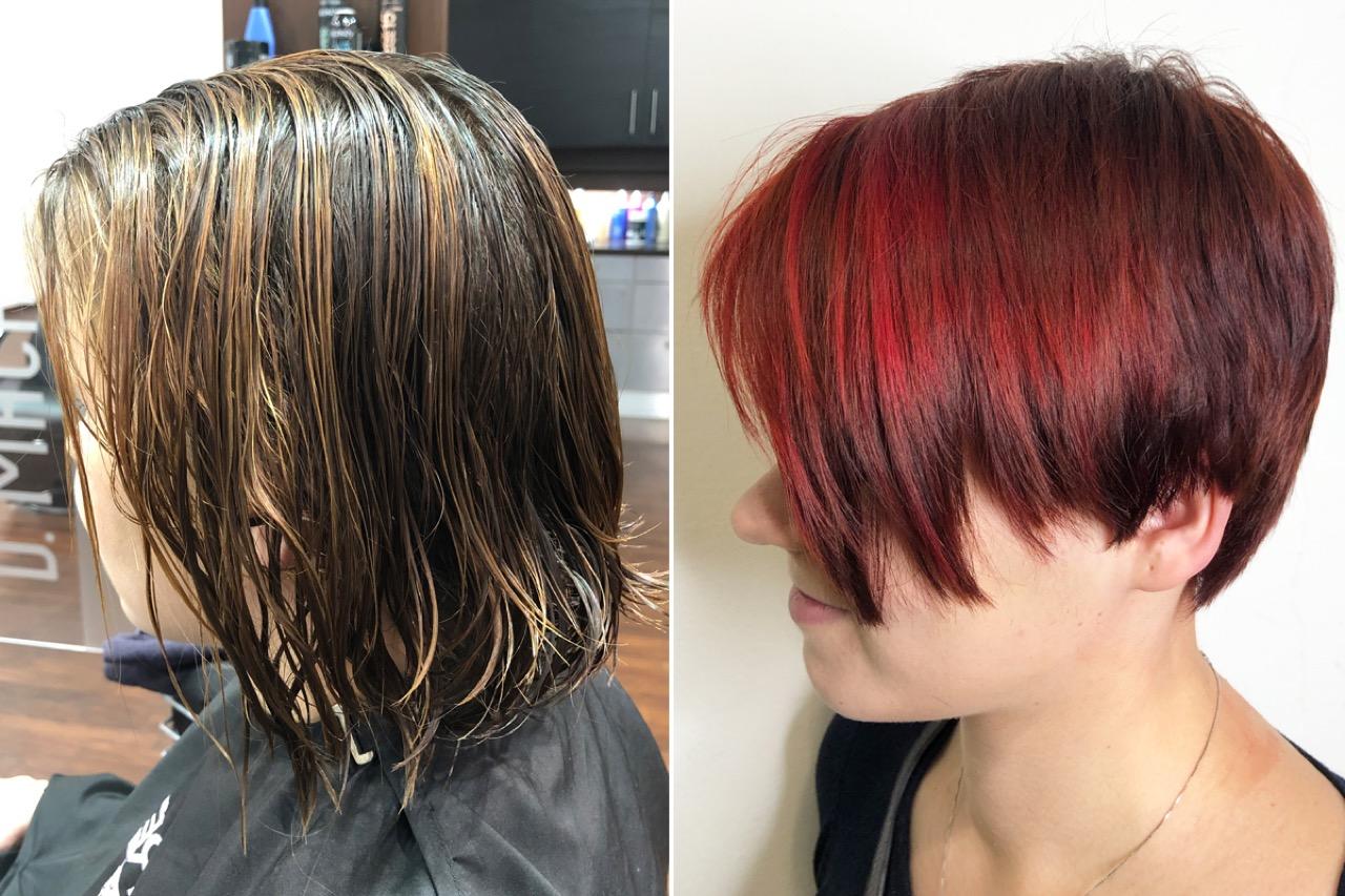 Mit strähnen haare schwarze roten Rote haare